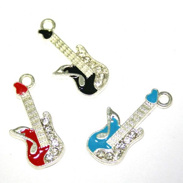 1 x 27*11mm silver plated blue colour guitar with rhinestone enamel charm - S.D30 - CHE1233
